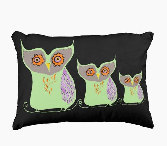 Owl pillow owls family toss pillow made to order mosaic owls black green orange home decor rustic