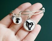 Heart Music Note Adjustable Bangle Bracelet -  Alex & Ani Inspired Style #14