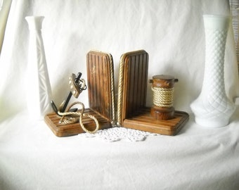 Vintage Bookends Nautical Bookends Anchor Ships Wheel Man Cave Decor