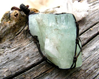 Healing necklace, Calcite Necklace, Green Calcite, Macrame, Wrapped, raw crystal pendant, Organic necklace, Chakra,  long layering neckalce