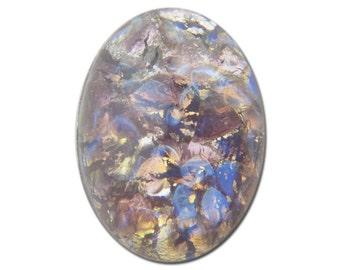 Czech Amethyst Opal Oval Glass Cabochons 18mm x 13mm (2) cab440A