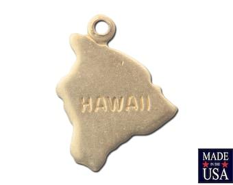Raw Brass Tiny Hawaii State Charm Drops 14x11mm (2) chr202PP