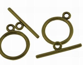 Rounded Simple Top Antiqued Bronze Toggles (15 Sets) tog008C