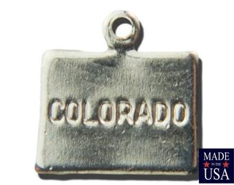 Shiny Silver Tiny Colorado State Charm Drops 11x11mm(6) chr224Z