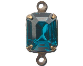 Faceted Blue Zircon Glass Stone 2 Loop Brass Ox Setting 10x8mm squ016MM2