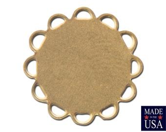 Raw Brass Lace Edge Round Flat Pad Settings 13mm (12) stn030CC