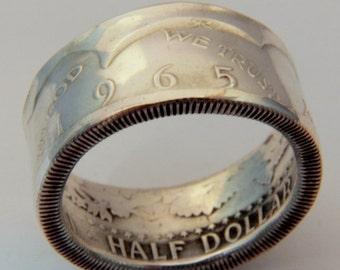 Silver coin ring Kennedy half dollar ring year 1965 unique gift for coin collector you pick size