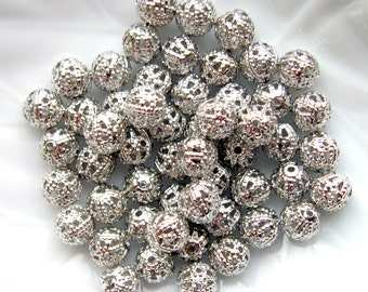 Antique Silver Finish Filigree Beads - Set of 50 - 6mm Spacer Beads (SBD0019)