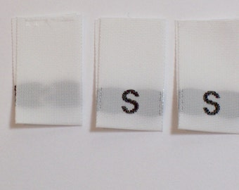Size Tags, Sew in Garment Tags, White S, Set of 20, Size Small