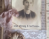 Altered Journal, be strong, believe, Follow Your Dreams, Brown, For Her,  Primitive Journal, Rustic, Sepia, Mixed Media, Art, Book, ofg team