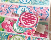 Personalized iphone charger wrap, Lilly Inspired, floral preppy cord wraps, flamingos, floral, nautical set of 2 waterproof vinyl