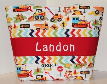 Construction Diaper bag  Weekender / XL size . Dig IT and Rainbow Chevron . monogrammed FREE .  personalized diaper bag . boy diaper bag
