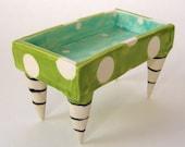 aquamarine Pottery Dish :) Alice in Wonderland square bowl w/polka-dots, black & white striped legs