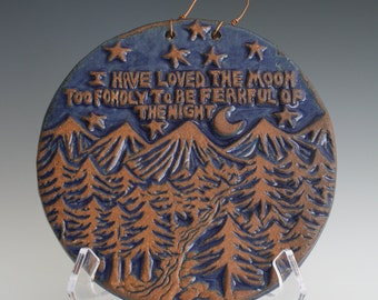 Moonchild art. Mountains, stars and trees landscape sculpture. Night owl gift. Love the moon.  Woodcut style, carved wall tile in relief.