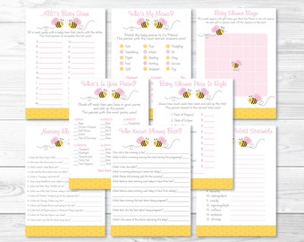 Cute Pink Bumble Bee Baby Shower Games Package / Bumble Bee Baby Shower / Baby Girl Shower / 8 Printable Games / INSTANT DOWNLOAD