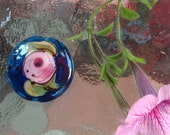 Handmade watercolor rose blue glass lampwork bead