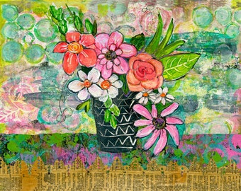 Mixed Media Art, Floral Print, Botanical Print, Colorful Modern, Gift For Friend, Still Life, Various Sizes