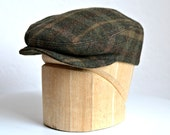 Men's Driving Cap in Green and Brown Plaid Wool - Men's Flat Cap - Made to Order - 3 WEEKS FOR SHIPPING
