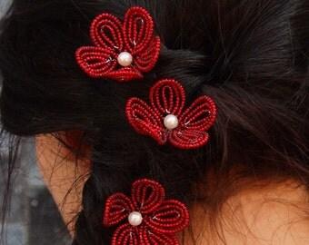 red beaded flower hair pins, French beaded flowers, bridal, bridesmaids, flower girls