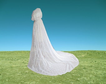 White Lace Cape Cloak Hooded Wedding Cathedral Train Renaissance Medieval Renaissance