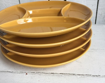 Vintage Fondue Plates -  Pottery Grill Plates - Set of 4 - Mustard Gold