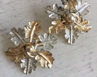Vintage Coventry Clip Earrings - Oak Leaf Garland - Silver and Gold - Sarah Coventry