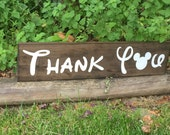 Thank You wood sign photo prop disney font Mickey Mouse