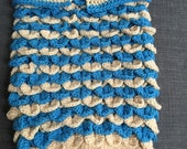Ocean Blue and Beige Crocodile Stitch Baby Cocoon and Beach Bag,Infant swaddler, Tote, Beach Baby Prop,