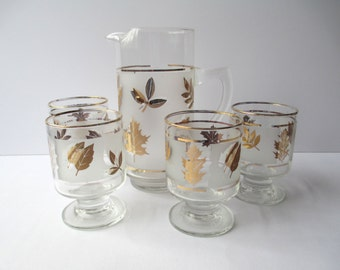 Vintage Libbey Golden Foliage Pitcher and Four On The Rocks Glasses