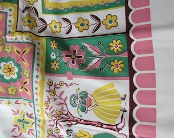 Vintage Folksy Dutch Pink Green Yellow Tablecloth