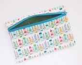 Zipper Pouch Accessory Case Handmade With Little Houses Print Fabric