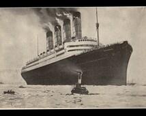 Cunard Lines RMS Aquitania Four Funnelled Ocean Liner Ship Beautiful