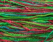Hand dyed textured thread set, assorted fibres, bright green, emerald, jade, dark pink, purple, blue, cotton, silk noil, viscose, linen