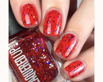 American Woman// Handmade Red, Silver, Blue Glitter Nail Lacquer// Cruelty Free