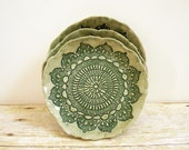 Ceramic Lace Plate Ring Holder Trinket Dish Ring Catcher Bowl Jewelry Holder Grayed Jade Sage Green