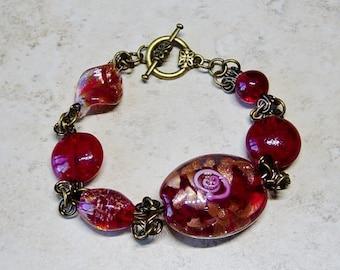Red Lampwork Glass Bead Bracelet,  Antique Brass Bracelet, Red Bracelet, Red Beaded Bracelet, Boho, Beaded Bracelet, Beaded Chainmaille