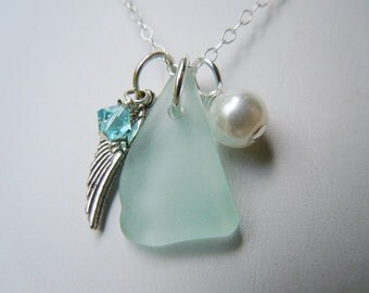Angel Wing Necklace - Sea Foam Sea Glass Necklace -  Beach Glass Jewelry