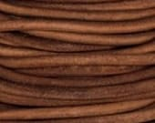 Leather cord Natural 4mm Thick Round 1 yard