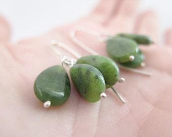 SALE - Jade earrings. Sterling silver earrings with natural Nefrite Jade beads. Green earring, Jade dangles, Nefrite dangles, drop earrings.