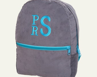 Toddler Backpack Personalized Slate Blue Corduroy Monogrammed Preschool Girl Boy