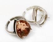 Quality Cast 18x13mm Sterling Silver 925 Adjustable Teardrop Ring Bezel Settings fit Swarovski 4320 crystals ,Choose your Finish (N15SV)