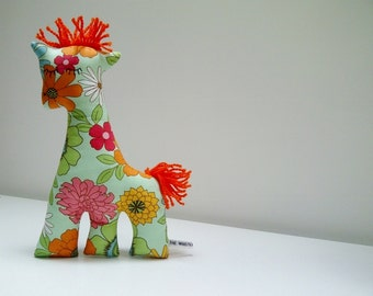 SALE Retro Giraffe Plush in Pale Green Flower Power Fabric, 70's Retro, Pop Floral Giraffe Soft Toy