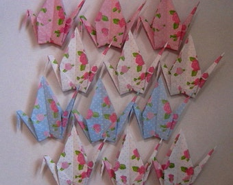 "12 Large Chiyogami Cranes - Rose Pattern (4 designs), 6"" (15 cm) Japanese Chiyogami, Origami Paper Cranes, Rose, Floral, Chiyogami Cranes"