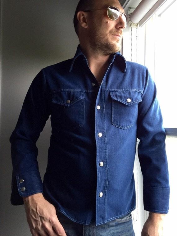 Vintage Denim Shirt Men 39 S 1970 39 S Snap Up Jean Shirt