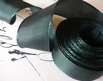 """5 Yards of Forest Green & Black Wired Ribbon (1"""")"""