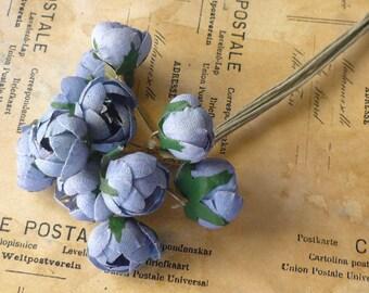 12 Vintage Cotton Rosebuds in Sky Blue