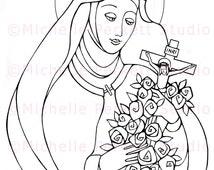 Digital Stamp Image Downloadable St. Therese of Liseux Carmelite Nun Catholic Christian Cardmaking Scrapbooking