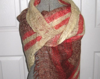 Woven wool Shawl / Vintage Loosely Woven Wool Shawl / Hand Woven Shawl