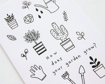 Colouring Card - How does your garden grow?