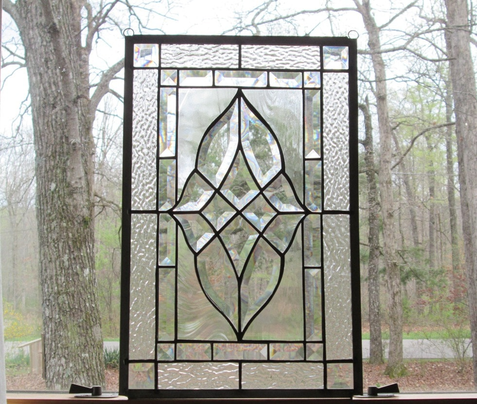 Clear Leaded Glass : Stained glass panel clear beveled by cartersstainedglass
